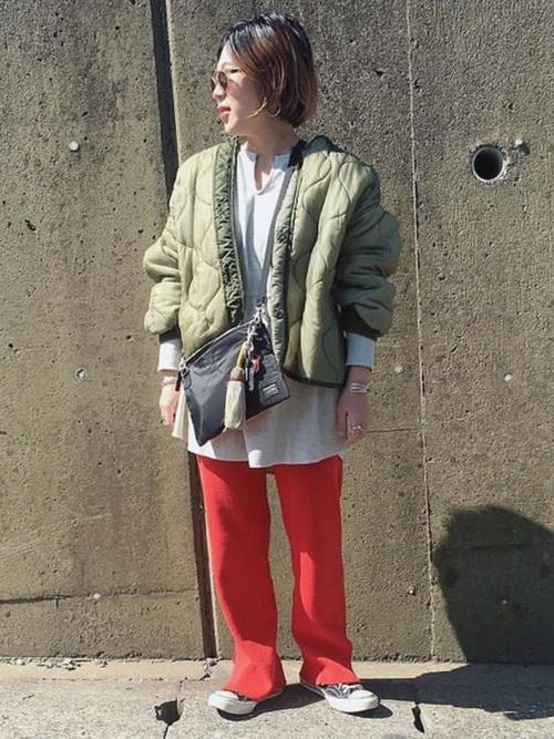キルティングジャケットのモードコーデ参考画像