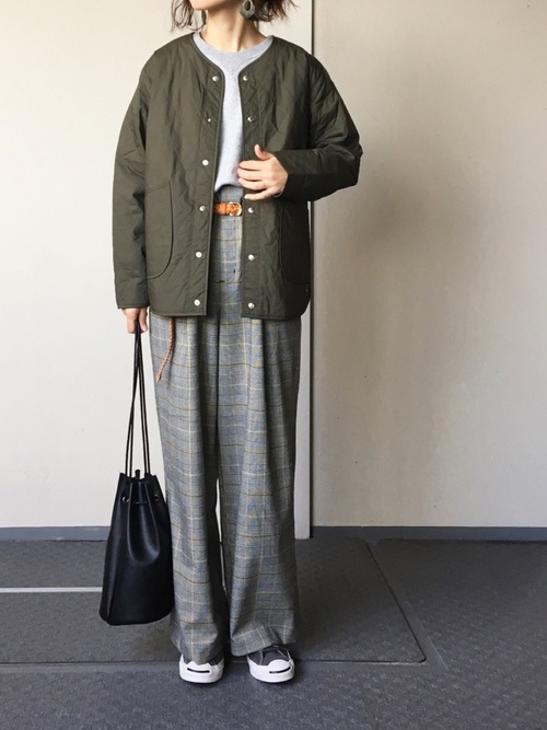 キルティングジャケットのマニッシュコーデ参考画像